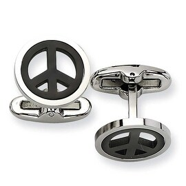 Chisel Stainless Steel Black plated Peace Symbol Cuff Links