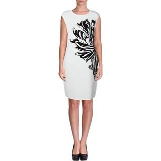 Calvin Klein Womens Floral Print Sweater Wear to Work Dress