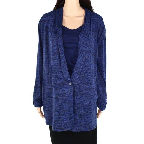 Nic+Zoe Womens Sweater Mineral Blue 2X Plus Cardigan Lapel Button Front