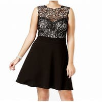 Love Squared Black Womens Size 2X Plus Lace Bodice A-Line Dress