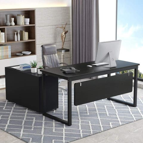 ribesigns L-Shaped Computer Desk, 55 inch Executive Office Desk with File Cabinet