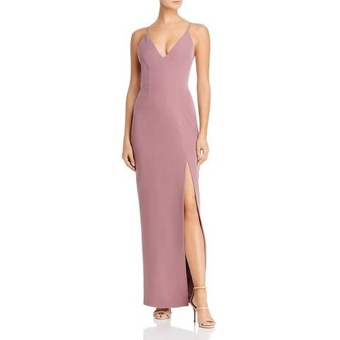WAYF Womens Maisle Evening Dress V-Neck Side Slit - Dark Orchid