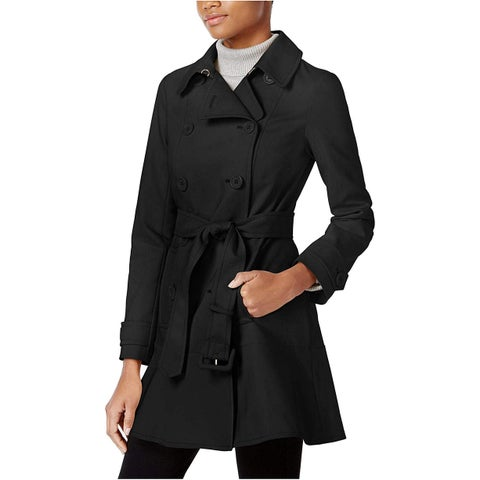 Kate Spade New York Double Breasted Skirted Trench Coat Black