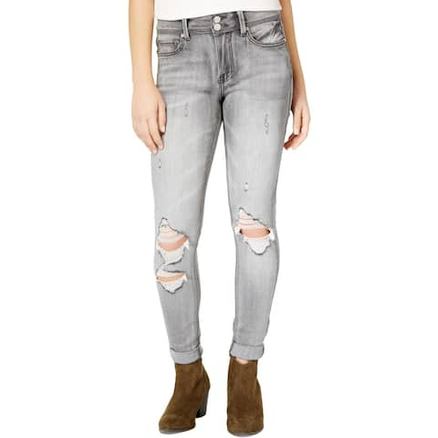 Indigo Rein Womens Juniors Ankle Jeans Ripped Distressed