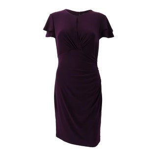 Lauren by Ralph Lauren Women's Tiered-Sleeve Ruffle Sheath Dress - Purple