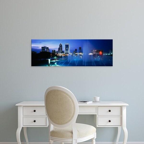Easy Art Prints Panoramic Images's 'Fountain, Cityscape, Night, Jacksonville, Florida, USA' Premium Canvas Art