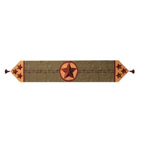 "72"" Wild West Rustic Country Star Over Paisley Tasseled Decorative Table Runner"
