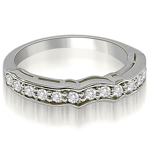 0.25 cttw. 14K White Gold Curved Round Cut Diamond Wedding Ring