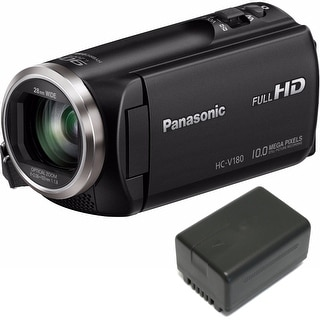 Panasonic HC-V180K HD Camcorder 50x Optical Zoom w/ Wasabi VBT190 Spare Battery