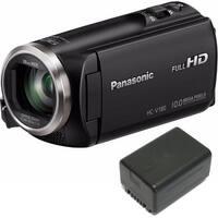 Panasonic HC-V180K HD Camcorder 50x Optical Zoom w/ Wasabi VBT190 Spare Battery