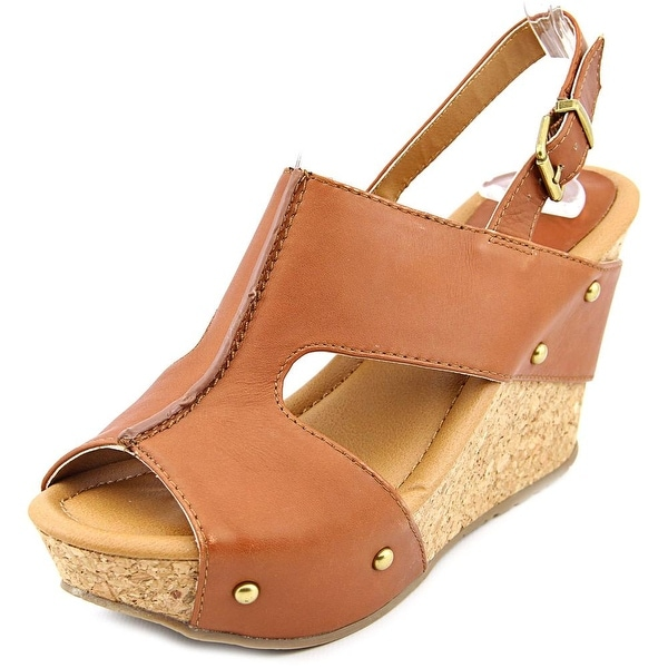 Kenneth Cole Reaction Sole-O Women Open Toe Leather Brown Wedge Sandal