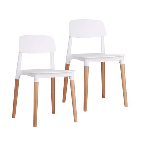 Porthos Home Clyde Dining Chairs Set Of 2, PP Plastic, Woody Accents