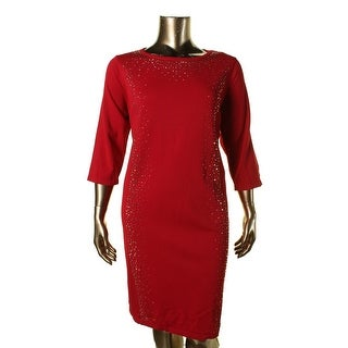 Calvin Klein Womens Plus Embellished 3/4 Sleeve Sweaterdress - 3X