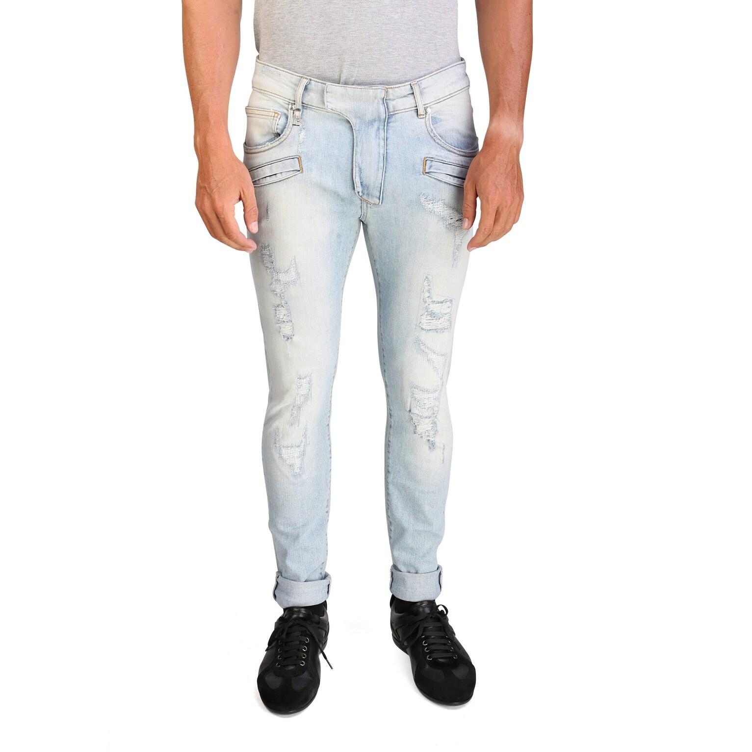 Pierre Balmain Men's Slim Fit Distressed Denim Jeans Pants Light Blue