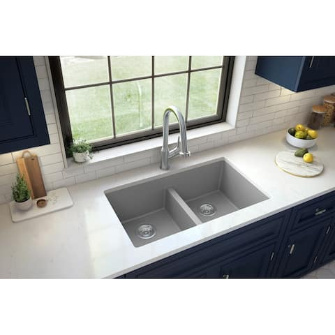 "Karran Undermount Double Equal Bowl Quartz Kitchen Sink - 32"" x 19.5"" x 9"" - 32"" x 19.5"" x 9"""