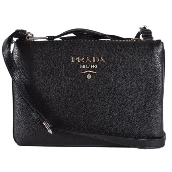 b6db55688a15 Prada 1BH046 Black Vitello Leather Bandoliera Double Zip Crossbody Purse Bag