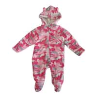 Healthtex Baby Girls Pink Spotted Pattern Full Body Hooded Bodysuit