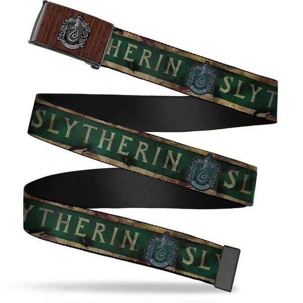 Slytherin Crest Marquetry Black Walnut Brushed Silver 1.0 Cam Slytherin Web Belt
