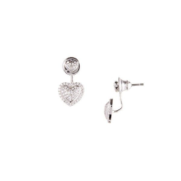 925 Sterling Silver Double Heart Ear Jacket with Cubic Zirconia