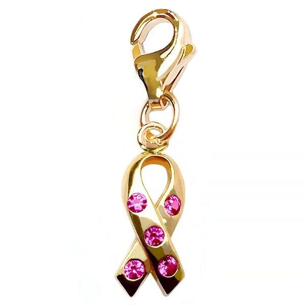Julieta Jewelry Pink Awareness Ribbon CZ Clip-On Charm