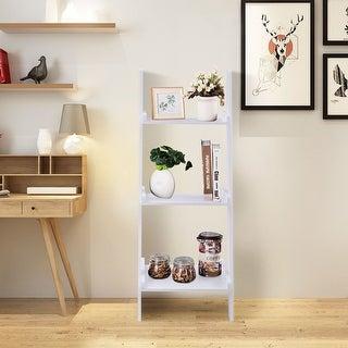 Costway 3 Tier Leaning Wall Ladder Book Shelf Bookcase Storage Rack Display Flower shelf  Plant shelf Furniture