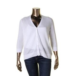 Lauren Ralph Lauren Womens Plus Cardigan Sweater Eyelet Shadow Stripe