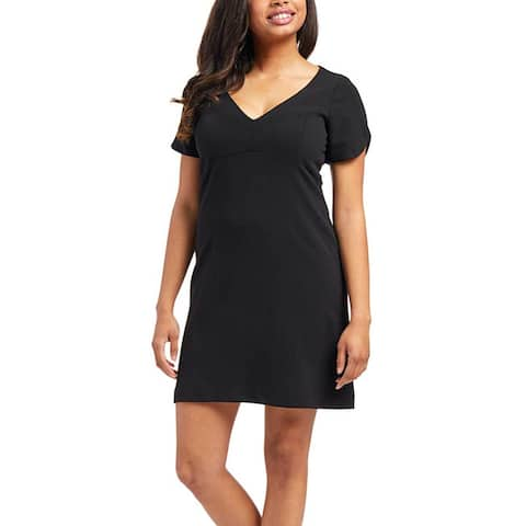 Betsey Johnson Women's Plus Size Black V-Neck Dress, Black, 4