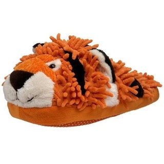 Fuzzy Friends Womens Tiger Textured Slip On Novelty Slippers - 9.5