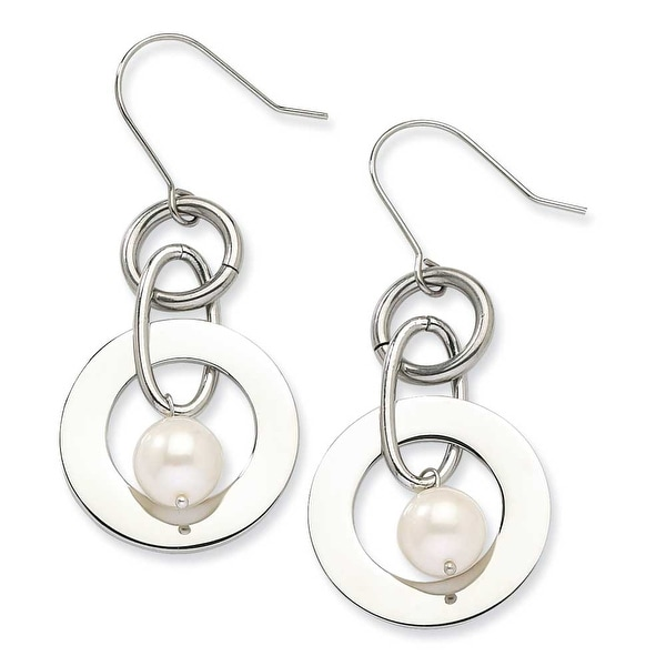Chisel Stainless Steel Polished Circles with White Fresh Water Pearl Dangle Earrings