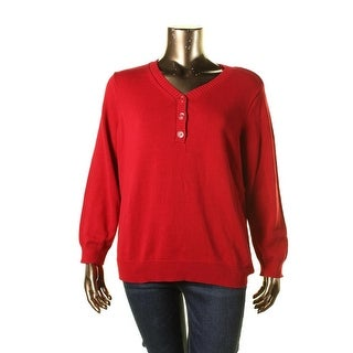 Karen Scott Womens Plus V Neck Knit Henley Sweater - 2X