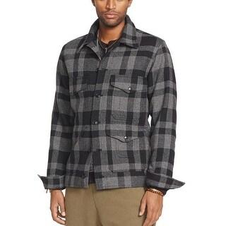 Denim and Supply by Ralph Lauren Wool Blend Jacket Dark Grey and Black Plaid (Option: Xs)