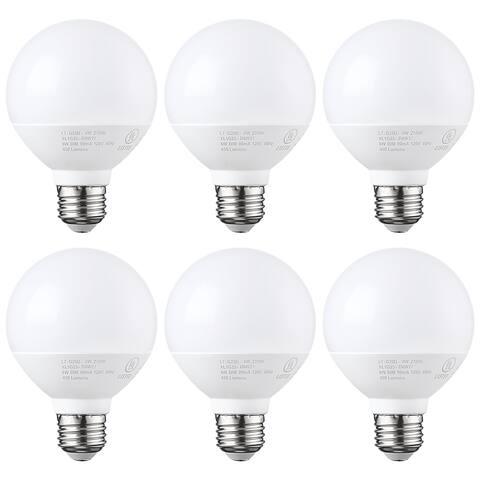 1/6 PACK G25 Globe LED Light Bulb, 6W (40W Equiv), 2700K Soft White / 5000K Daylight