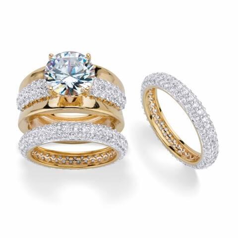 Yellow Gold Round Bonus Bridal Ring Set Cubic Zirconia (8 1/4 cttw TDW)