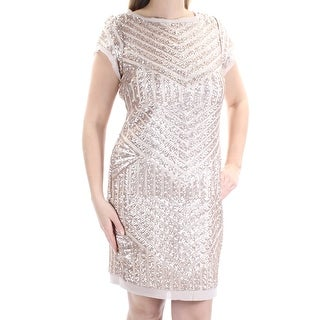 Womens Gold Cap Sleeve Above The Knee Sheath Party Dress Size: 6