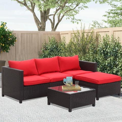 Zenova 5/6/7-pc. Cushioned Rattan Wicker Sofa Sectional Set w/ Pillows