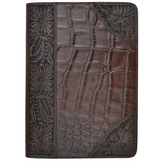3D Western iPad Case Cover Gator Inlay Magnetic Stand Dark Brown