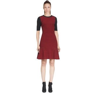 Elie Tahari Linore Colorblock Flounce Flared Day to Evening Dress