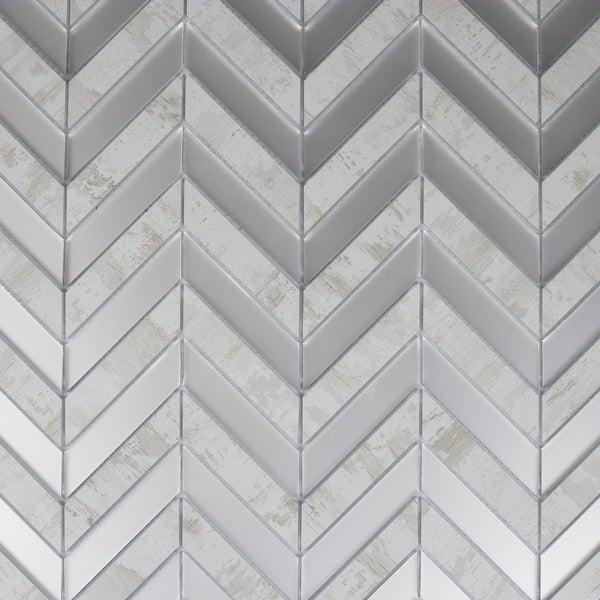 "Miseno MT-WHSMSCHEB-BW Musico - 1"" x 4"" Chevron Wall Mosaic Tile - Smooth Porcelain Visual - White"