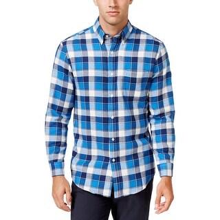 John Ashford Mens Evanston Button-Down Shirt Flannel Plaid