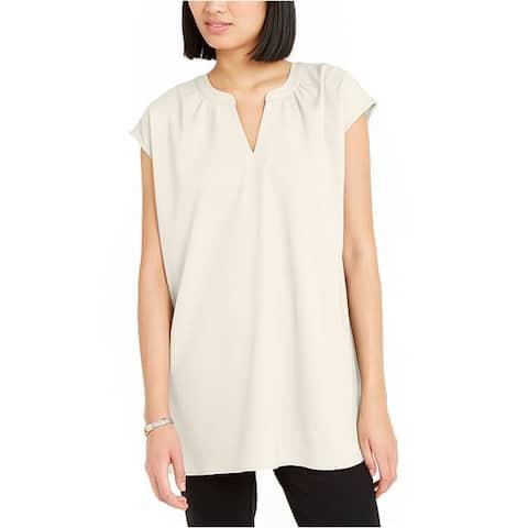 Alfani Women's Blouse Drop Shoulder Tunic, Cloud, Medium
