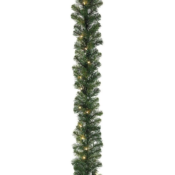 """27' x 14"""" Pre-Lit Olympia Pine Artificial Christmas Garland - Warm White LED Lights"""