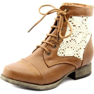 Sarah Jayne Jennifer Youth Round Toe Leather Brown Ankle Boot