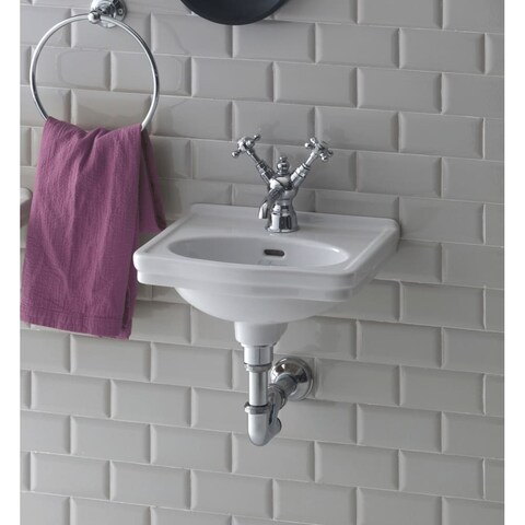 Bissonnet LO944 Wall-Mount Ceramic Sink with Overflow and One Faucet Hole - White