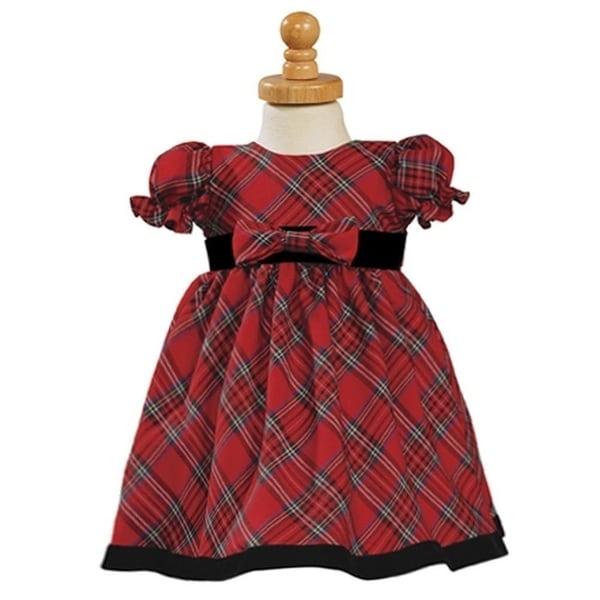 487ddb6ca Shop Girls Red Black Plaid Short Sleeve Christmas Dress 12M-4T ...