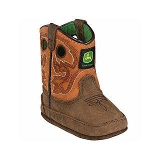 John Deere Western Boots Boys Kids Rush Pull On Dark Brown
