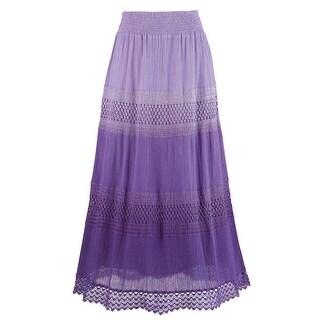 Women's Plum Ombre Skirt - Purple Lilac Lined Maxi Skirt