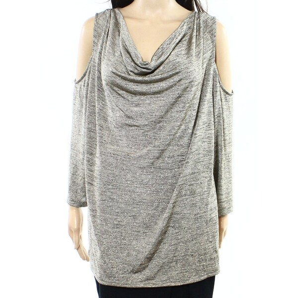 c5c46f3abc2ac Shop MSK NEW Gold Women s Size 1X Plus Cold Shoulder Metallic Knit Top - Free  Shipping On Orders Over  45 - Overstock.com - 18348942