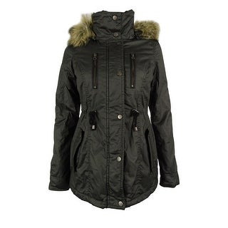 American Rag Women's Faux Fur Trim Hooded Parka Coat