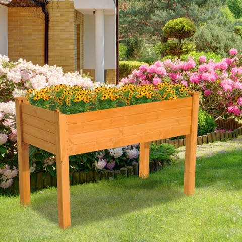 Outsunny 2' x 4' Wooden Elevated Garden Bed Outdoor Planter Box with Raised Legs & Quality Lightweight Design