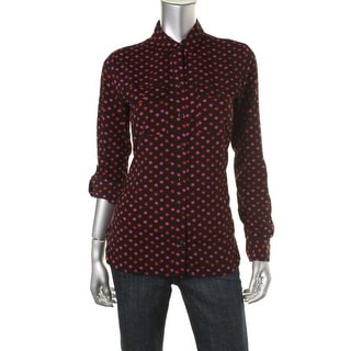 Jones New York Womens Printed Adjustable Sleeves Button-Down Top - M